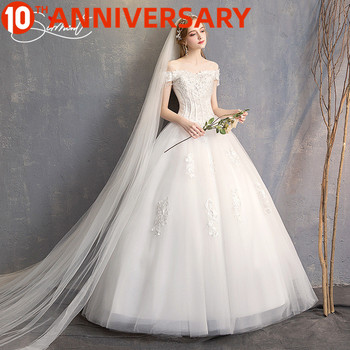 OllyMurs Slim Short-sleeved Dress Female Romantic Word Shoulder Bride Wedding Wedding Dress 2019 New Long Paragraph Without Tail