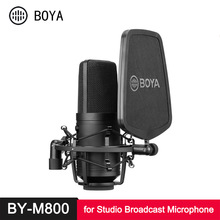 BOYA BY M1000 M800 Large Diaphragm Microphone Low-cut Filter Cardioid Condenser Mic for Studio Broadcast Live Vlog Video Mic