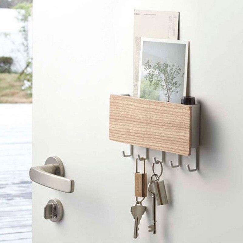 Simple Key Hanger  Wall Hook Space Saving Easy Install Home Bedroom Wall Retro Wooden Door Back Storage Rack