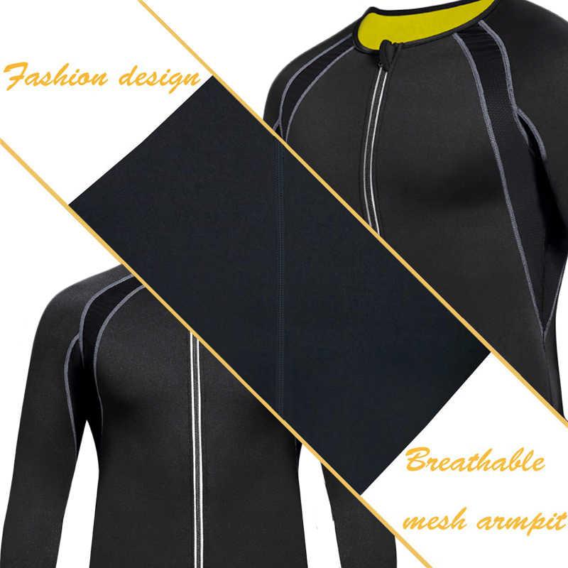NINGMI 痩身下着メンズスポーツシャツ長袖減量ネオプレンサウナベストウエストトレーナースリムボディシェイパー