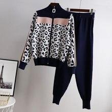 Pants Suit Jacket Sweater Trousers Zip-Cardigan Knit Long-Sleeve 2pcs-Sets Woman Casual