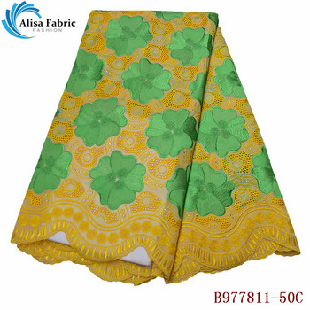 Alisa 2020 Hot Selling Swiss Voile Lace Fabric With Stones 5 Yards/pcs African 100% Cotton Lace Fabrics For Sewing Party Dresses