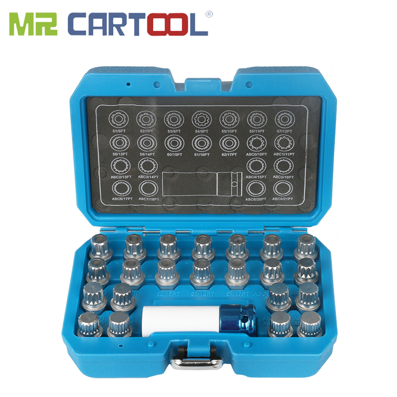 MR CARTOOL 23pcs Wheel Lock Lugnut Anti-Theft Screw Removal Key Socket Set For Vw Audi With 1/2 Inch (12.7 Mm) Socket Adapter