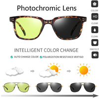Men Polarized Photochromic Sunglasses Chameleon Transition Lens Glasses Square Day Night Vision Changing Black Driving Eyewears
