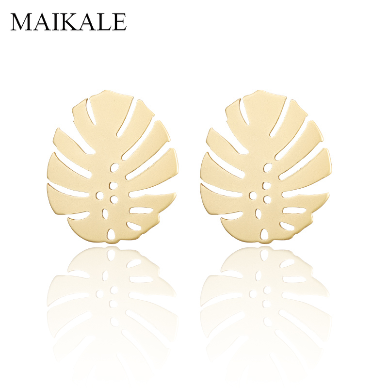 MAIKALE Bohemian Gold Geometric Stud Earrings Round Hollow Palm Leaf Beach Statement Earrings for Women Boho Jewelry Ethnic Gift