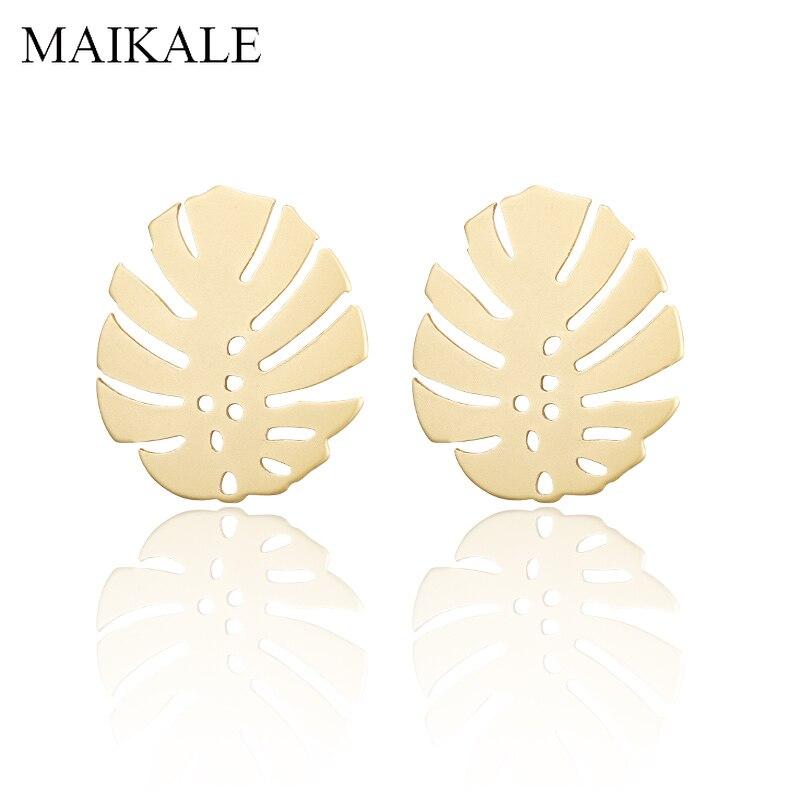 MAIKALE Bohemian Gold Geometric Stud Earrings Round Hollow Palm Leaf Beach Statement Earrings for Women Boho Jewelry Ethnic Gift
