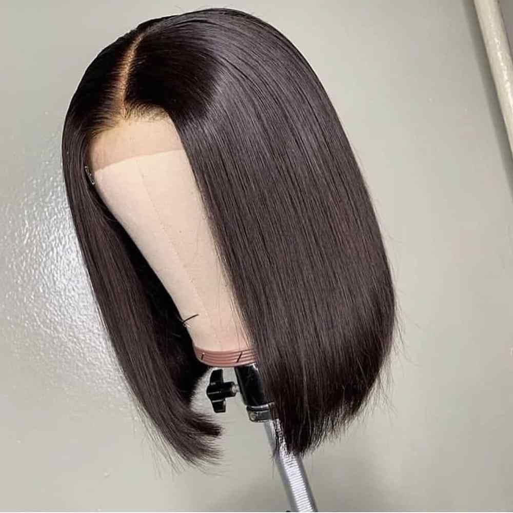 Peruca cabelo humano frontal, 4x4 curto fecho bob renda peruca para mulheres negras cabelos brasileiros lisos hd fechamento de cabelo preto peruca remy