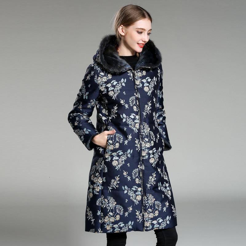 Natural Real Rabbit Fur Collar Hooded Long Parka Jacket Women Coat Parka Ladies Floral Printed  Winter Warm Outwear Plus Size