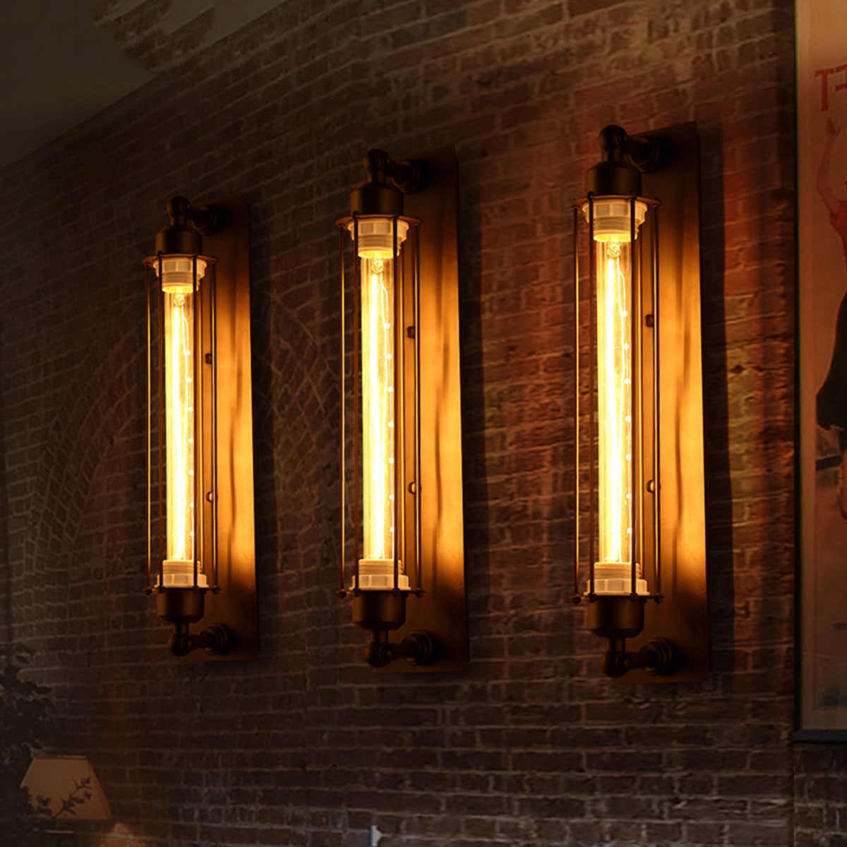 E27 vintage edison conduziu a luz de parede moderna do corredor do vintage retro industrial 110-220 v lâmpada de parede led w-filamento luz conduzida interna