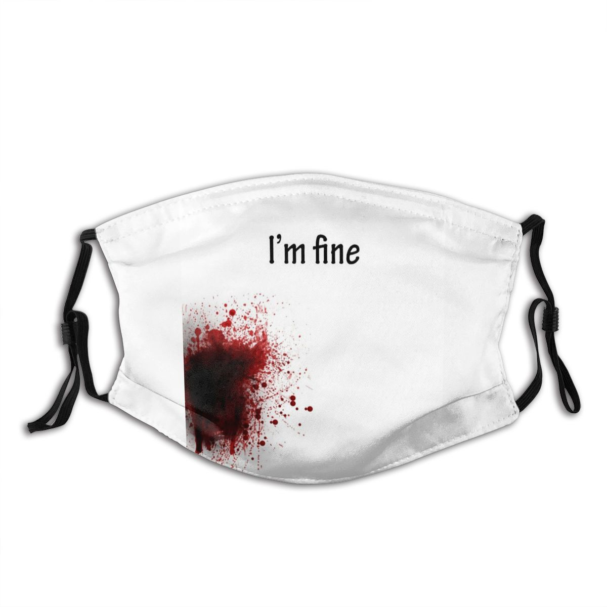 I'm Fine Blooded Reusable Mouth Face Mask Anti Bacterial Dust Mask With Filters Protection Mask Respirator Mouth Muffle