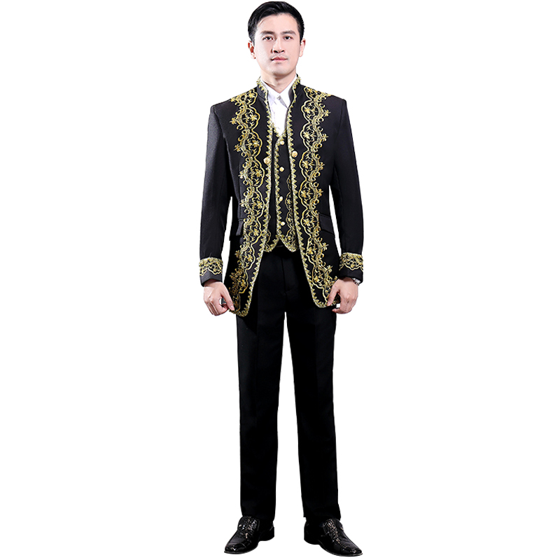 Men's European Prince Style Palace Suit Three-Piece Set(Coat+Vest+Pants)Inlaid Gold Royal Court Banquet Black Military Suit