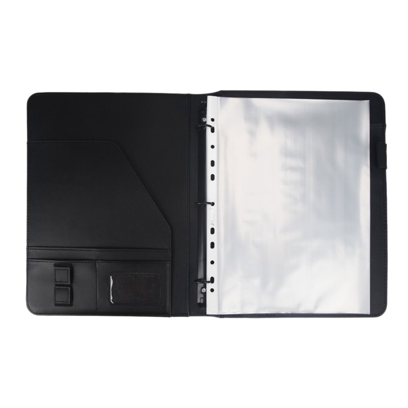 A4 Vegetarian Leather 3 Ring Portfolio Binder Business Binder Padfolio With Notebook Pad For Interview & Business
