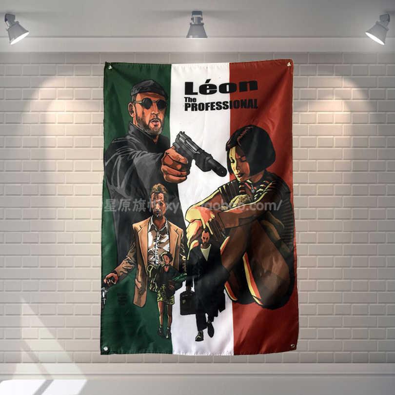 """""""ليون-The المهنية"""" الكلاسيكية فيلم فريق شعار القماش المشارك لافتات أربعة حفرة العلم عنبر نوم الجدار الديكور"""