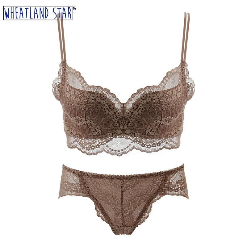 Lingerie Feminina Sexy Hot Wire Free Underwear Sets Push Up Bra And Panty Set Adjusted Straps  Women's Lingerie Female Intimates