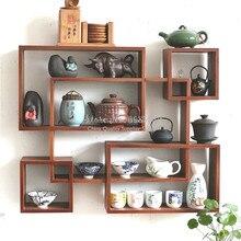 Твердый деревянный настенный Дисплей стенд Размеры фиолетовый песок Чай горшок подстаканник Чай набор для хранения шкаф для одежды