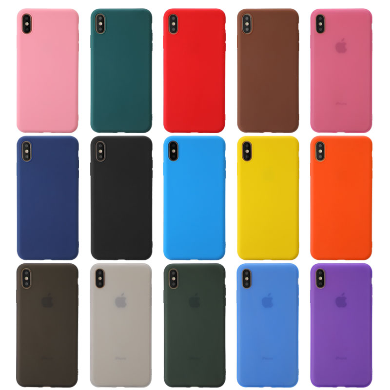 Soft Candy Color Phone Case For iPhone 7 8 6 6S Plus SE 2 Case Silicone Back Cover Coque for iPhone X XS 11 Pro Max XR 15 style
