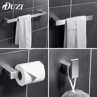 DUZI Stainless Steel Bathroom Hardware Set Nickel Brushed Contain With Towel Bar Robe Hook Paper Holder Bathroom Accessories Set