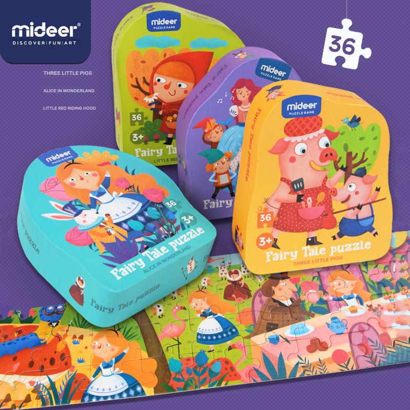 MiDeer Fairy Tale Puzzle 36PCS Elementary Children's Puzzle >3 Years Paper Jigsaw Puzzle 4 Classic Fairy Tales Cartoon Toy
