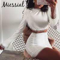 Miessial Bianco sexy del merletto aderente a due pezzi set vestito Delle Donne dell'annata mini vestito da autunno Feme elegante di inverno del partito di notte vestito dal randello