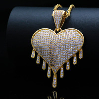 High Quality AAA Zircon Copper Big Heart Pendant Necklaces Unisex Hip Hop Jewelry Fashion Stainless Steel Gold Silver Necklace