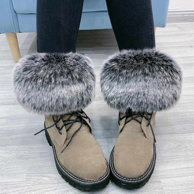 Fashion Women's Boot Cover Fake Fox Fur Leg Warmer Fluffy Winter Elastic Shoes Ankle Cover Plush Leg Loop Socks Cover Foot Ring