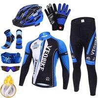 Pro camisa de ciclismo equipe mountain bike roupas dos homens da bicicleta roupas inverno térmica quente ao ar livre esporte ciclo wear conjunto acessórios|Kits ciclismo| |  -