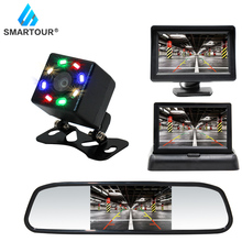 Smartour CCD HD Waterproof Parking Monitors System Night Vision Car Rear View Camera + 4.3 inch Car Rearview Mirror Monitor 2pcs 11 8 inch car rear seat entertainment video monitors for range rover 2017 headrest monitor android 7 1 system