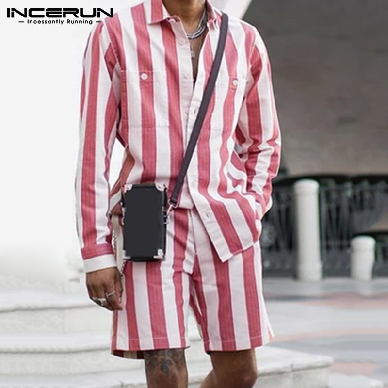 INCERUN Fashion Men Sets Striped 2 Pieces Long Sleeve Pockets Shirts Elastic Waist Shorts Men Suits Streetwear Casual Sets S-5XL