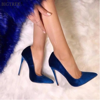BIGTREE shoes Women's high heels sexy pumps Blue heels 2020 Female party shoe ladies stiletto pointed fashion zapatos de mujer 2016 winter sexy party shoes women stiletto high heels ladies knee high boots zapatos mujer 3463bt q3