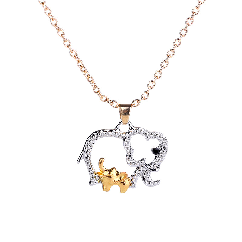 Fashion Crystal Elephant Pendants Necklace for Women Elephant Baby And Mom Dad Love Necklace Trendy Jewelry Mother's Day Gift image