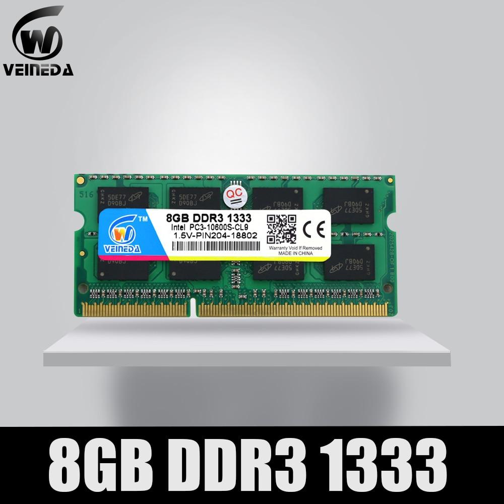 VEINEDA 8GB 4GB DDR3 Memory Ram Ddr3 1333 PC3-10600 Sodimm Ram Ddr 3 For Notebook