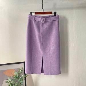 Image 5 - Lizkova ורוד עיפרון חצאית חורף 2020 נשים גבוהה מותן פיצול Faldas עם חגורת אלגנטי רשמי גבירותיי Jupes 2810
