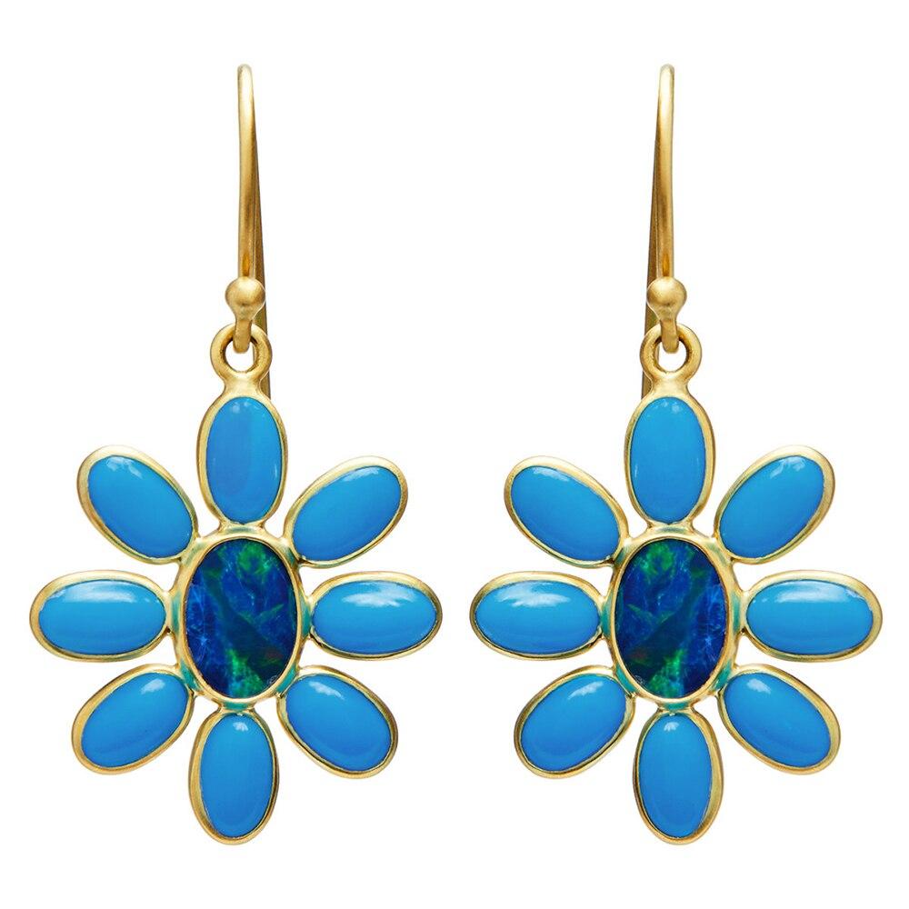 Huitan Romantic Blue Flower Shape Women Drop Earring Bridal Wedding Ceremony Accessories Delicate Gift Stylish Female Earrings