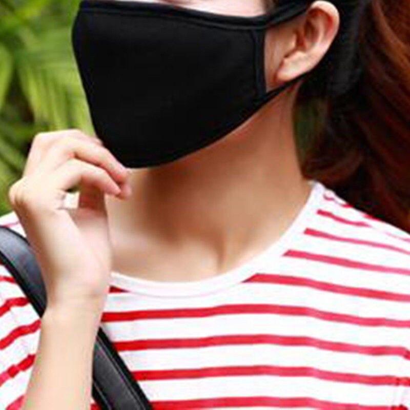 Image 2 - 2Pcs Korean Fashion Men Black Muffle Mouth Mask Anti Dust Unisex  Women Mouth Face Mask Virus for Motorcycle Outdoor