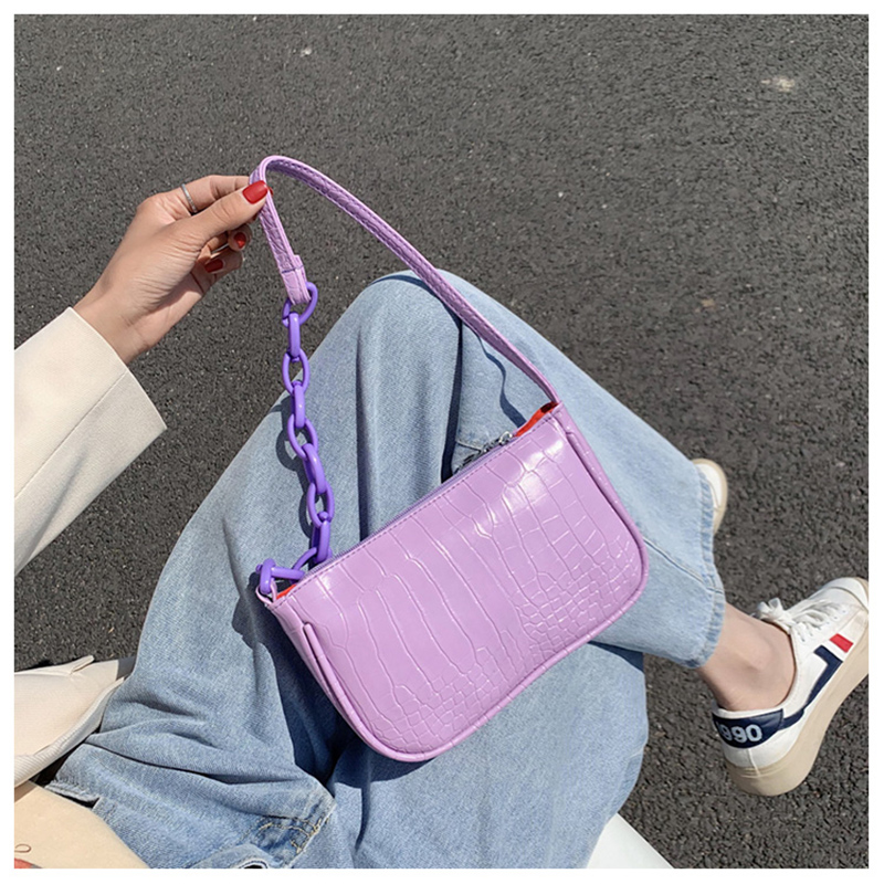 Purple Baguette Bag Women Baguette Zipper Shoulder Bags Handbags Sac PU Leather Street Casual Solid Messenger Bolsa Mujer 2020