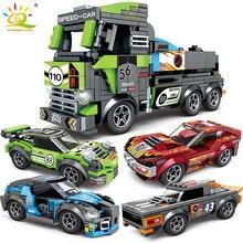 HUIQIBAO-bloques de construcción de coches de carreras 4 en 1 para niños, juguete de ladrillos creativos, figuras de carreras, coches deportivos de ciudad, 671 Uds.