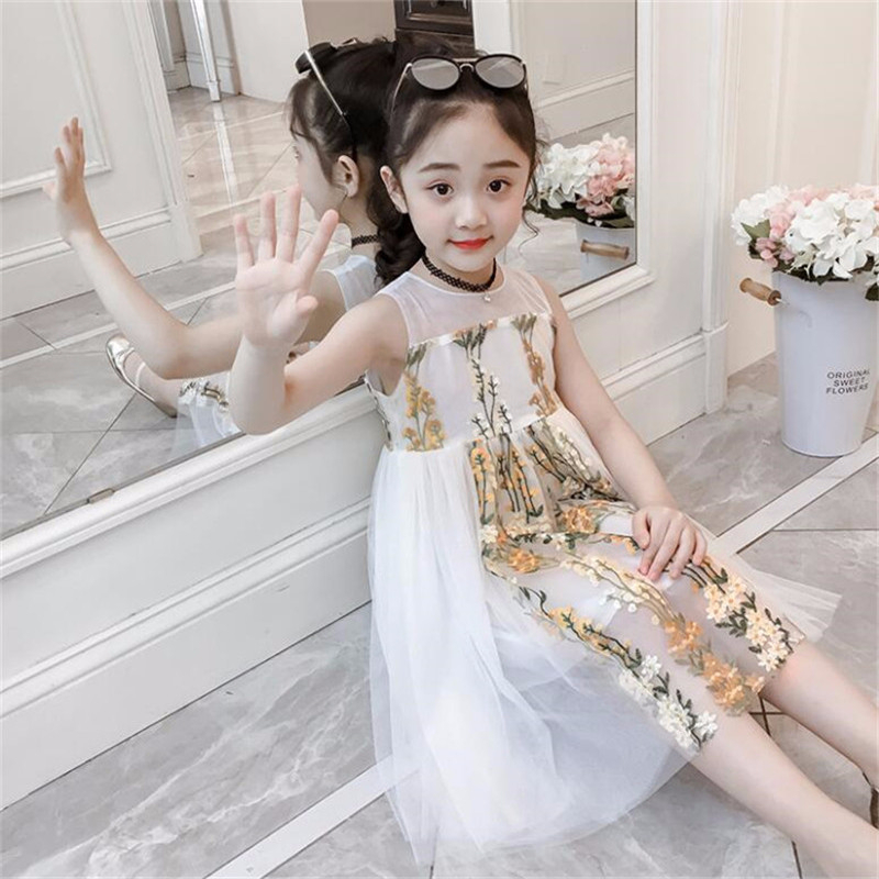 Sleeveless Girls Floral Print Dress For Princess Wedding Party Clothes Summer Baby Kids Chiffon Lace Beach Dresses