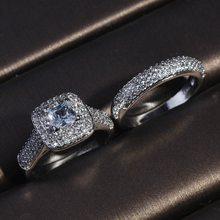 Nouvelles tendances anneaux ensemble exquis carré AAA Zircon éblouissant S925 bijoux de luxe pour les femmes mariée mariage fiançailles livraison gratuite