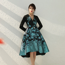 Women Long Trench Coat Spring Asymmetry Flower Embroidery Pa