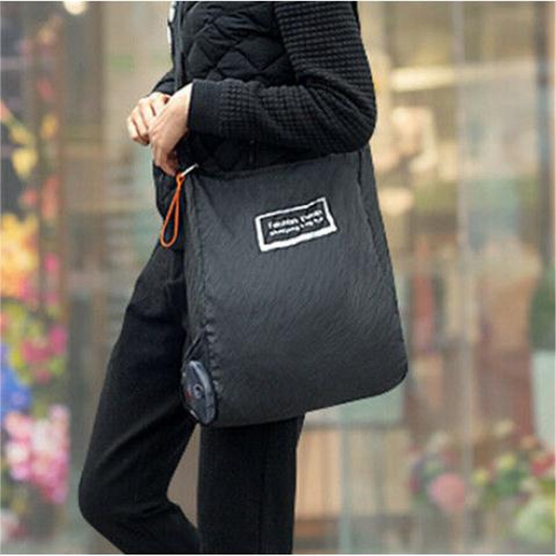1PC Cute Foldable Shopping Bags New Fashion Eco Black Handbag Reusable Bag Large Capacity Supermarket Portable Shopping Totes