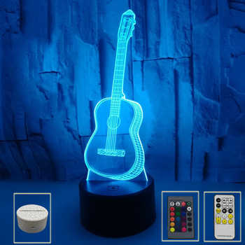 7Color Guitar Night Light Guitar 3D Led Series Remote Lamp Change Led USB Touch Control Gift For kid Home Living Room Decoratio - Category 🛒 All Category