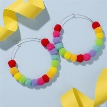 Круглые серьги с меховыми шариками корейские короткие круглые