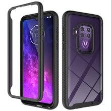 Hybrid Soft Bumper Dual Layer Case Voor Motorola Moto Een Zoom Gevallen Hard Cover Crystal Clear Beschermhoes