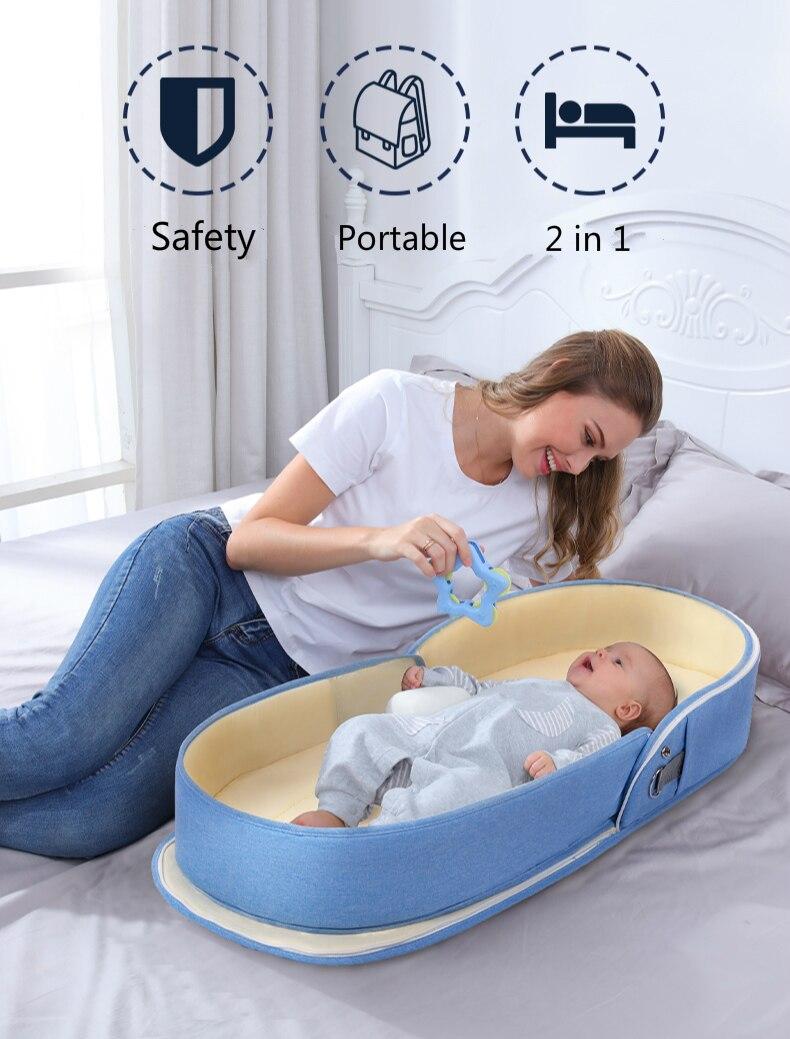 Cama de bebê viagem com proteção solar