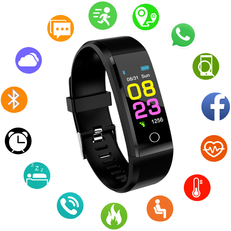 Smart Watch men smart wristband Heart Rate Monitor Blood Pressure Fitness Tracker Smartwatch Sport Watch for ios android +BOX