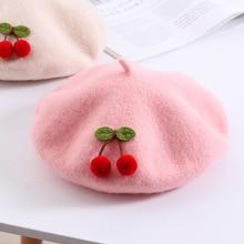 Children Cherry Beret Autumn Winter 48-52CM Warm Girl Pure Color Cute Japanese S