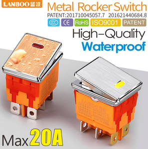 LANBOO 16A250VAC DPDT high quality aluminum panel waterproof rocker switch