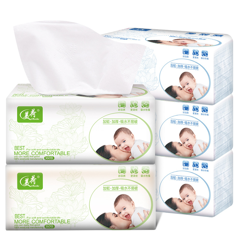 Mei Ho House Paper Extraction Direct Wholesale 360 3-Layer Home Toilet Paper Hotel Economic Paper Towel 18 Packs A Box Wholesale
