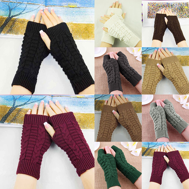 Winter Women Solid Color Wool Cable Fingerless Gloves Thick Warm Soft Knitted Woolen Arm Thumb-hole Fingerless Mittens