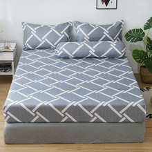 Bedding-Set Mattress-Cover Bedsheet Elastic-Band Striped-Printed Nordic Geometric